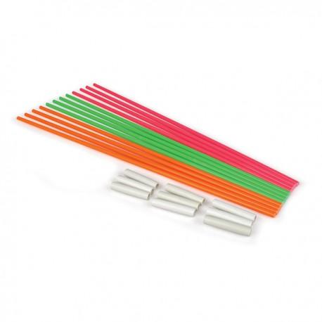 Tiges balistiques 3 couleurs (x12) avec connecteurs (x9) - le lot
