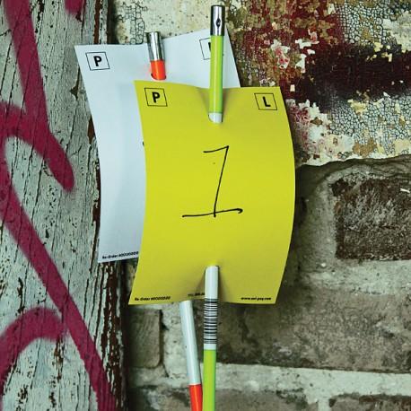 Carte d'identification reversible jaune/blanc pour piquet - lot de 100