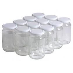Bocal en verre transparent avec couvercle métal à vis - 350 ml - lot de 10