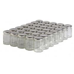 Bocal en verre transparent avec couvercle métal à vis - 100 ml - lot de 10