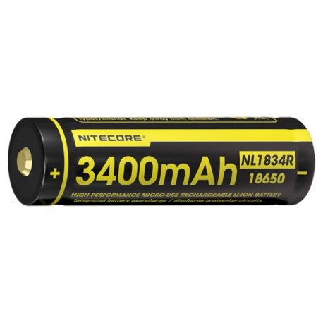 Accus Li-ion 18650 - 3400 mAh - rechargeable micro USB - l'unité