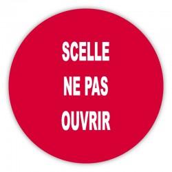 """Pastille adhésive rouge sécurisée """"SCELLE NE PAS OUVRIR"""" - lot de 100"""