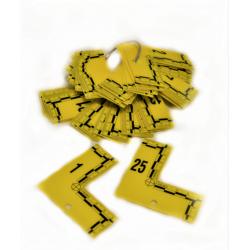 Equerre plate jaune numérotée de1 à 25