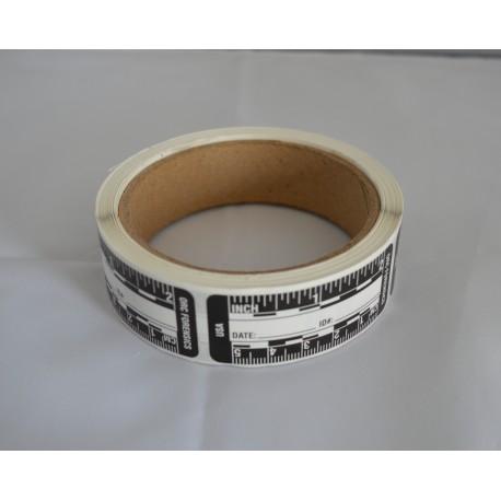 Rouleau de 200 réglets adhésifs noirs sur fond blanc de 5 cm