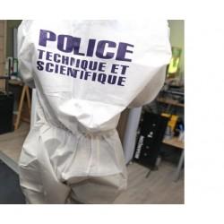 Combinaison à usage unique floquée POLICE TECHNIQUE ET SCIENTFIQUE avec cagoule Cat III Type 4-5-6 - 25 pièces