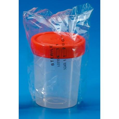 Pot stérile plastique transparent avec couvercle à vis - 50 ml - lot de 10