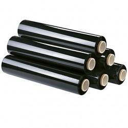 Rouleau de film étirable opaque noir 45 cm x 300 m avec dérouleur - l'unité