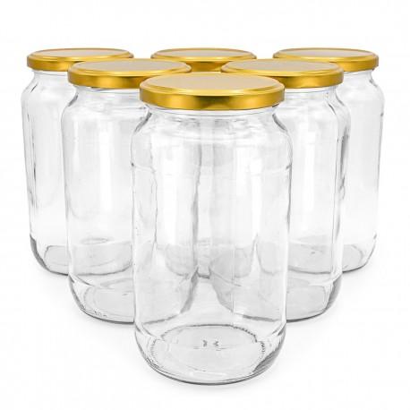 Bocal en verre transparent avec couvercle métal à vis - 1000 ml - lot de 10