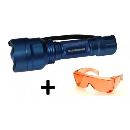 Kit lampe torche lumière bleue 455 nm + lunette orange
