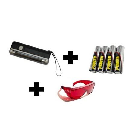 Lampe UV de poche avec dragonne + lunettes + piles - le kit