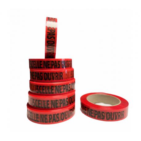 """Ruban adhésif Rouge """"Scellé ne pas ouvrir"""" - 2.5 cm x 100 m"""