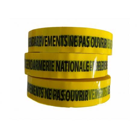 """Ruban adhésif Jaune """"G.N. PRELEVEMENTS NE PAS OUVRIR"""" 2,5 cm x 100 m - l'unité"""