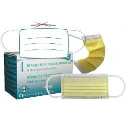 Masques chirurgicaux médicaux CE EN 14683:2019 Type II -Sans barette nasale - Boite de 50 pièces